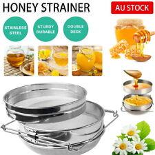 Honey Strainer Filter Stainless Steel Double Sieve Beekeeping Equipment Kit New