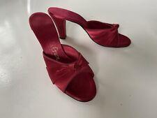 Vintage Shoes 1950s deep red satin low heel boudoir slippers Daniel Green 5
