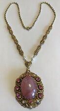 VINTAGE WEST GERMANY SIGNED PINK RHINESTONE & PEARL NECKLACE