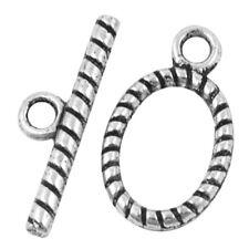 10 Set Tibetano Argento in Lega Twist ovale attiva e disattiva Ganci-a6391