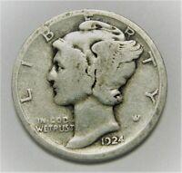 1924 P Mercury Dime circulated 90% Silver  Good + , Average circulated