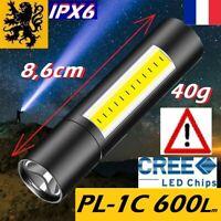 MINI LAMPE TORCHE LED DE POCHE COMPACT PL-C1 1W T6XML+COB 600Lm RECHARGEABLE USB
