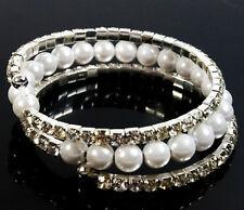 Stretch Bracklet Beads Shinning Rhinestone Diamante Bridal Wedding Party 3 Rows