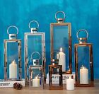 MODERN HOME DECOR STAINLESS STEEL PILLAR CANDLE LANTERN STAND HOLDER LAMP S/M/L