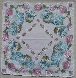Vintage Handkerchief MENS Hankie Top Pocket Square FLOWERS FLORAL PURPLE BLUE