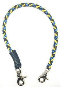 Biker chain Blue Gold braided leather Heavy Duty Trucker wallets made in USA