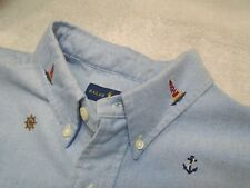 Polo Ralph Lauren Cotton Oxford Nautical Embroidery Sport Shirt NWT Large $89.50