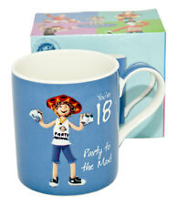 """Happy Birthday Blue Mug -  With Message """"You're 18 - Party to the Max!"""""""