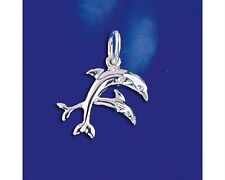 Sterling Silver Dolphin Pendant Two Dolphins Marine Ocean Charm Solid 925 Italy