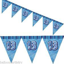 9ft BLUE Glitz 13th Birthday Pennant Flag Banner