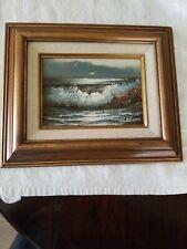 Vintage Rare  1900s Oil Painting Waves Ocean Sea Rocks Signed P. Edson