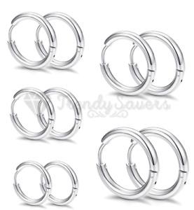 PAIR Silver Titanium Steel Huggie Cartilage Clicker Gold Lip Nose Hoop Earrings