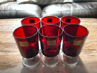 Vintage Set of 6 Luminarc French Red Sherry Wine Glasses