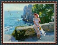 """Hand painted Original Oil Painting art Impressionism girl on canvas 30""""x40"""""""