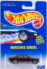 Hot Wheels No. 253 Mercedes 380SEL Burgundy w/SB's New On Card 1996