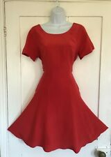 Laura Ashley Red Silk Skater Tea Dress Flare Vintage Style Cocktail Party