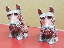 "Vintage Pair(2) Scotti Dog Statues - Cast Aluminum - 5"" Tall"