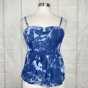 Nanette Lepore Lamour Women's M Top Tank Cami Blue Tie Dye Chambray Denim #XX