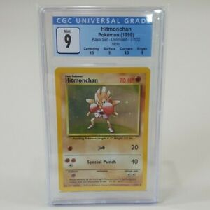 Pokemon Base Set 1999 Unlimited Hitmonchan Holo Rare 7/102 CGC 9 Mint
