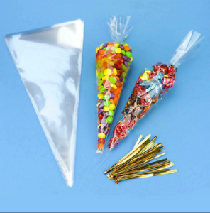 Clear Cellophane CELLO CONE BAGS - Party Candy GIFT Treat Bags Wedding Favors