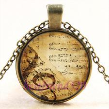 Vintage Music notes Photo Cabochon Glass Bronze Chain Pendant Necklace