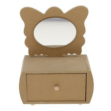 Unfinished Wooden Jewelry Box with Drawer Butterfly Mirror for DIY Craft