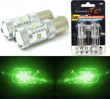 LED Light 30W 1156 Green Two Bulbs Front Turn Signal Replacement Show Use JDM