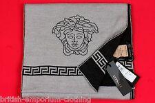 VERSACE Black / Grey Fret & Medusa Head Wool Knit Scarf Made In Italy BNWT