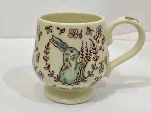 Anthropologie Rabbit Bunny Footed Flowers Floral Coffee Tea Mug EUC