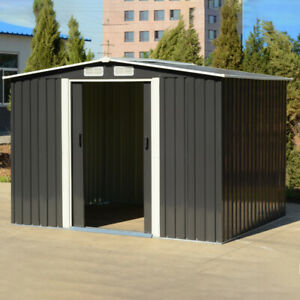 6X8ft Metal Shed Garden Outdoor Tool Storage Container With Free Base Green Grey