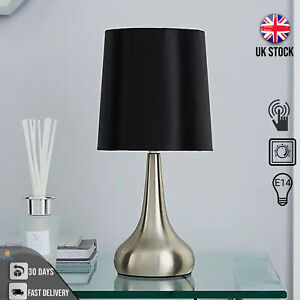 Stylish Touch Lamp Table Lampshade Bedside Lamp Dimmable Touch Smart - Black