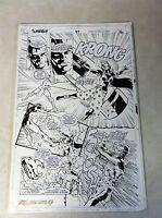 SUPERBOY #47 original comic art SILVER SWORD BATTLE MISTRESS PELE, 1994
