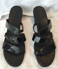 "Womens Sandals Shoes Munro Slip-On Strappy 2 1/4"" Wedge Black 9M"