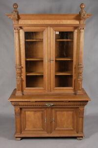 Gründerzeit Attachment Dresser With 2 Glass Doors Um 1880 Massive Bright Oak