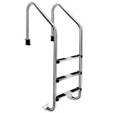 More details for 3-step stainless pool ladder heavy duty steel ladder for in ground pool non-slip