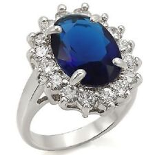 New Royal Engagement Wedding Ring Princess Cubic Zirconia Oval Blue Sapphire 7