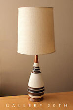 MID CENTURY DANISH MODERN TEAK CERAMIC TABLE LAMP! VTG 1950'S WEGNER ATOMIC 60'S