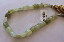 "8"" Strand A Grade Grossular Green Garnet Gemstone Faceted Cushion Beads 7mm-10mm"
