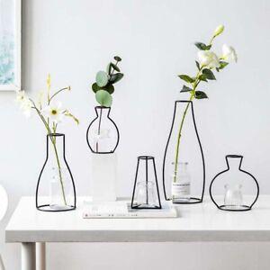 Creative Art Style Retro Iron Line Flowers Vase Metal Plant Holder Modern  Solid