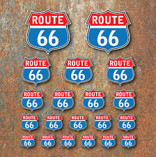 Route 66 Sticker Set Retro Classic Motorcycle Car Camper Caravan Hot Rat Rod