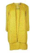 *OLEG CASSINI* CANARY YELLOW SILK SUIT (S)