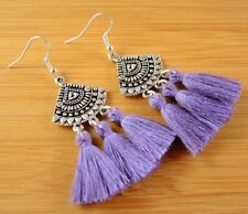 Statement Pair of Lavender Cotton Tassels Dangle Fashion Boho Earrings #1453