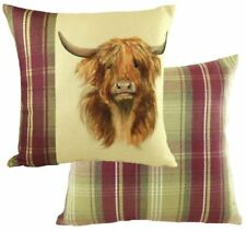 EVANS LICHFIELD HEATHER HIGHLAND COW HAND PAINTED ANIMALS CUSHION COVER 17""