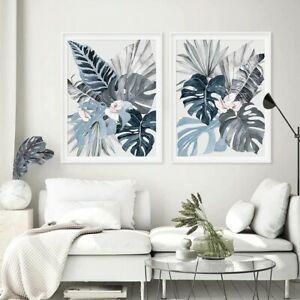 Tropical Leaves Abstract Artwork Prints, 2 Piece Canvas Wall Art Set(Unframed)