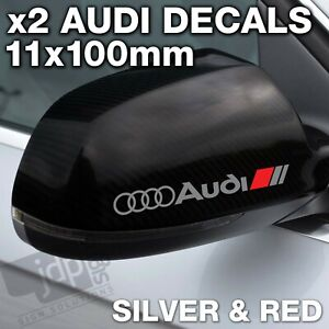AUDI 2 x Wing Mirror DECALS VINYL STICKERS - For all Models - SILVER & RED