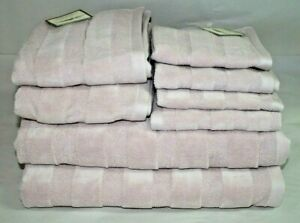 Domain Eight Piece Bathroom Towel Set Solid Dusty Pink/Lavender New