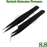 2 Pcs Eyelash Extension Tweezers Straight & Curved Stainless Steel Set (Black)
