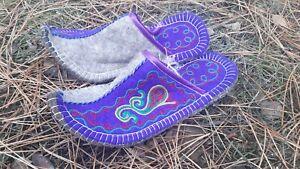 New blue felted wool mens slippers eco friendly handmade Kazakhstan 41-42 eur