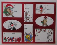 VINTAGE LOONEY TUNES CHRISTMAS GIFT TAGS STICKERS 1 Sheet 8 Tags  c