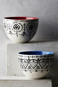 NEW Anthropologie Lina Bowl Dark Blue Handpainted Stoneware Sold Out! NIB